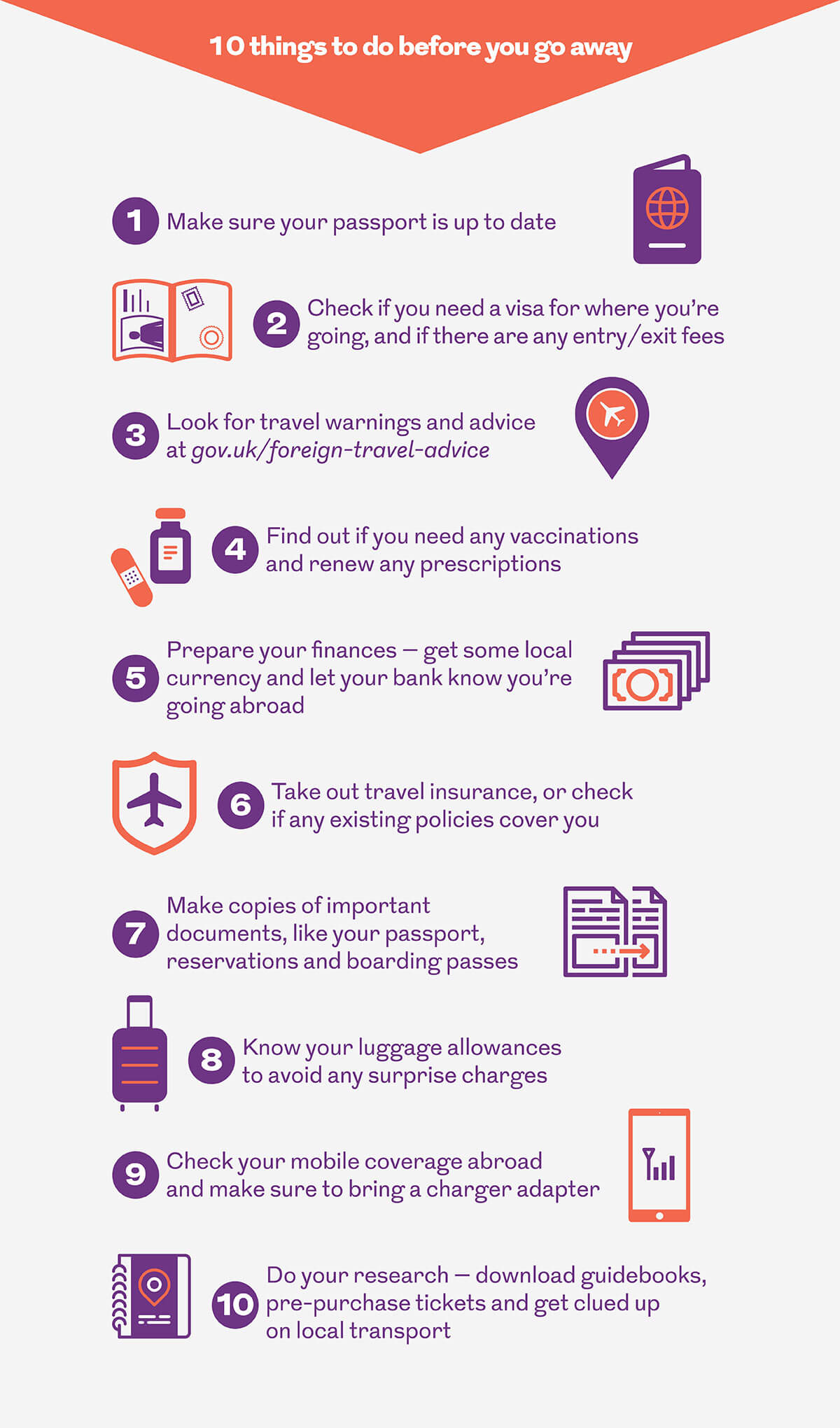 Infographic showing 10 things to do before you go away. This image is an infographic and has alternative text available if you are using a screen reader.