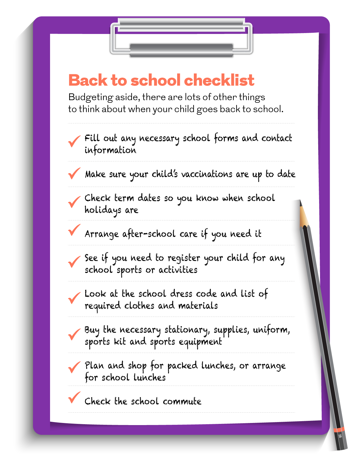 Back to school checklist. This image is an infographic and has alternative text available if you are using a screen reader.